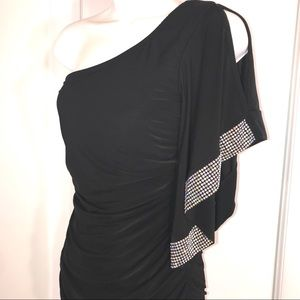 Gorgeous One Shoulder Ruched Dress, Size M